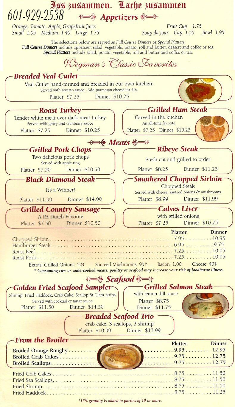 thanksgiving menu wegmans